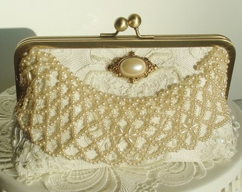 Bridal Clutch / Ivory Wedding Bag / Vintage Bride / Bridal Clutch / 1920's Wedding / Ivory handbag