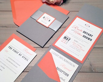 Gray and Coral Wedding Invitations, Modern Wedding Invitations, Coral, Gray and Silver Wedding Invitations, Coral Invitations