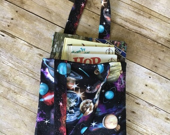 Reading is Out of This World Library Bag/Kid's Library Bag/Library Bag/Space Library Bag/Book bag/Reading Bag/Library Tote/Ready to Ship