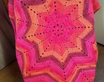 Crochet Baby Star Crib Blanket, Pink Afghan