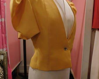 1980's Carolina Herrera Blazer/ Raw Silk/ retro/ Designer/ size 8/ disco/ Collectors piece