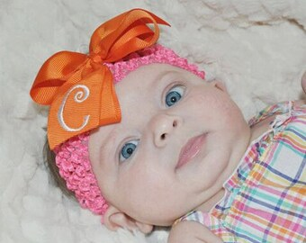 Custom Initial, Orange Hairbow, Letter Hair bows, Personalized Gift, Embroidered Baby, Medium Size, Girls Spring, Smocked Thread, Party Idea