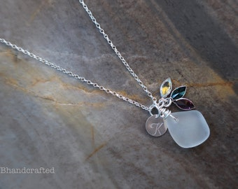 Birthstone Sea Glass Necklace, Mother's Day Gift, Sea Glass Necklace, Beach Glass Charm Necklace, Initial Charm Necklace , Gifts for Women,