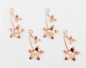 Rose Gold Flower, Wedding Headpiece Supply, Right Facing Flower, Brass Leaf Stamping, Flower Charm, Charm Drop, 16mm x 30mm - 4 pcs. (rg340)