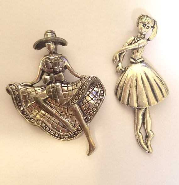 ballerina pendant dancer girl pendant metal pewter antique silver color dancing lady charm large pendants  jewelry making #supply945