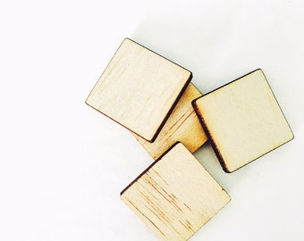 TIMBER SQUARE CUTOUT - 10x Laser Cut Natural Wood Squares 14mm (unfinished)