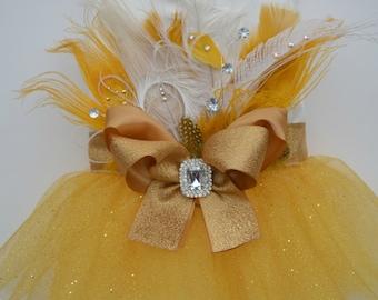 Dog Tutu Harness Dress, Peacock Gold Bling