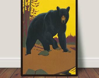 Black Bear Print, Vintage Animal Art, Bear Wall Art, Wildlife Printable, Vintage Bear Art, PRINTABLE Art, Large Print, Large Wall Art