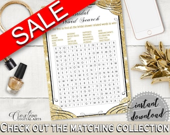 Word Search in Glittering Gold Bridal Shower Gold And Yellow Theme, rows of squares, blazing shower, party décor, party supplies - JTD7P