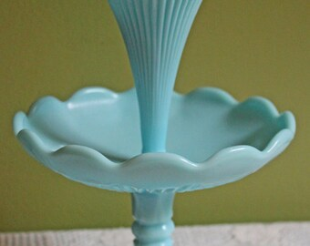 French Turquoise Milk Glass Epergne Vase with Scalloped Rims by Vallerysthal & Porteiux. Turquoise Milk Glass Footed Bowl and Epergne Vase.