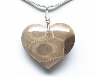 Petoskey Stone Heart Pendant