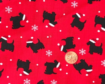 Black SCOTTIE Dogs, Scottish Terrier on Red Background ~  Christmas Fabric~100% Cotton for Crafts & Quilting~Fat Quarter/ FQ or Half Yard
