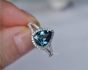 Pear London Blue Topaz Ring Topaz Engagement Ring/ Wedding Ring 925 Sterling Silver Anniversary Ring Promise Ring