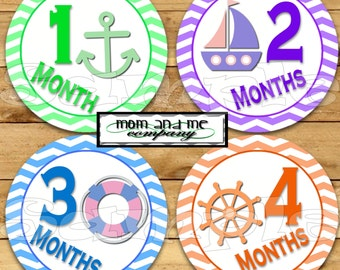 Nautical Baby Monthly Stickers Baby Shower gift Infant Month stickers Baby Girl zigzag Bodysuit Stickers Milestone month to month stickers