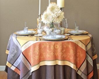 Rectangular or Square  Tablecloth - Jacquard Treated Teflon  Carpe Diem in Gold. Provence Jacquard Collection -