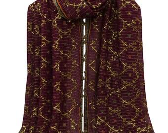 Vintage Hand Beaded Indian Georgette Dupatta Purple Fabric Used Veil Stole VDP32600