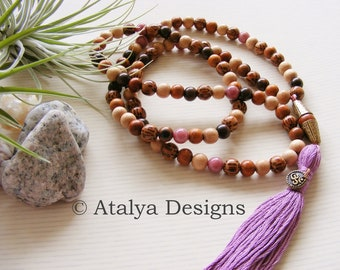 Palmwood And Pink Rhodonite Ohm OM Mala Prayer Beads - Brown Wood Wooden Gemstone Yoga Jewellery - Made in the UK