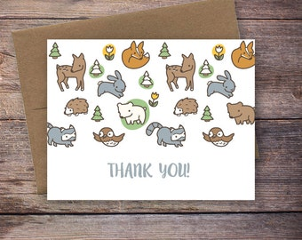 Thank you Card, INSTANT DOWNLOAD, Printable Woodland Animal Thank you Card, Gender Neutral, Baby Shower Thank You Notecard