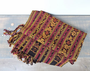 Vintage Ikat Woven Table Runner | Boho Textile | Purple Mustard and Black Table Runner | Table Runner With Fringe | Textile Wall Hanging