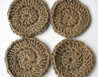Jute Face Scrubbies / Cleansing Pads / Crochet Pads / Crocheted Face Scrubbies / 100% natural materials