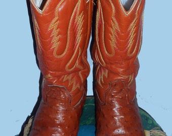 Vintage Exotic Copper Penny Ostrich Boots, Cold River Brand Men's  Sz  8 E Women's 9 C-D