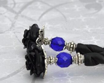 Black Rose Hairsticks   Bella Rosa   Elegant Victorian, gothic wedding, romantic goth, bone hairsticks, gothic lolita, black and blue
