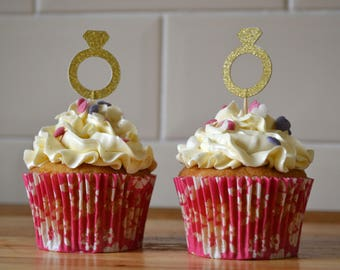 Gold ring cupcake toppers/ engagement cupcake toppers/ gold glitter wedding toppers/ pack of 6