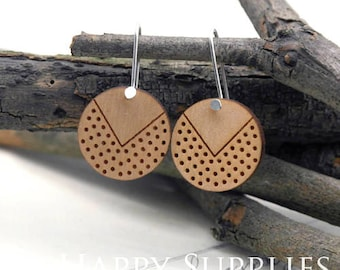 2pcs / 1 Pairs (HEW02) Laser Cut Wooden Dangle Earrings - HEW Series