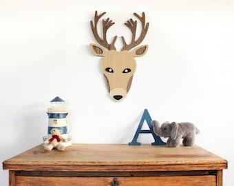 Wooden Deer Head Wall Art. Nursery Wall Art. Kids Room Decor Art. Wooden Deer Art. Animal art. Nursery Decor. Wooden Sign. Baby Gift
