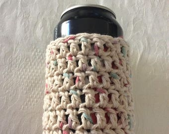 Can Cozy, Crochet Can Cozy, Beige with specks of pink and turquoise Can Cozy, Soda Cozy, Beer Cozy, Water Bottle Cozy, Handmade Crochet Item