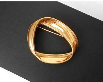 Vintage MONET Brooch Pin Infinity Circle Gold Tone