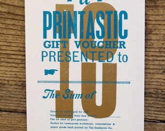 Gift voucher for The Smallprint Company Letterpress Workshop Gifts or Commissions