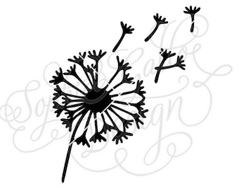 Dandelion Flower SVG DXF PNG digital download file Silhouette Cricut vector graphics Clipart Vinyl Cutting Machines Screen Printing