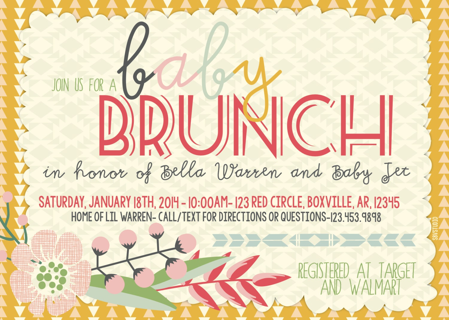 Baby Shower BrunchIndie Triangles Floral Invitation