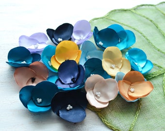 Fabric flowers, applique grab bag, satin appliques, floral embellishments, fabric hydrangeas (20 pcs)- Grab Bag in Assorted Colors (410)