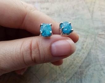 Blue Apatite Stud Earrings, 925 Sterling Silver Earrings, Blue Apatite Rough Earrings, Birthday Gift, Womens Jewelry
