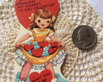 Vintage 1960s 1970s Valentine Card Little Girl With Hearts Collectible Paper Ephemera Art Crafts Scrap Booking