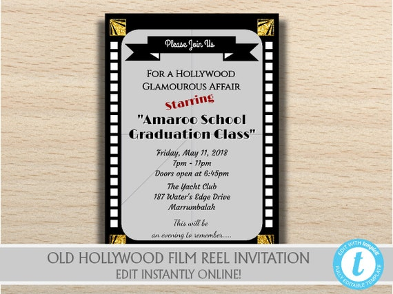 Printable Old Hollywood Birthday Movie Party Invitation Old