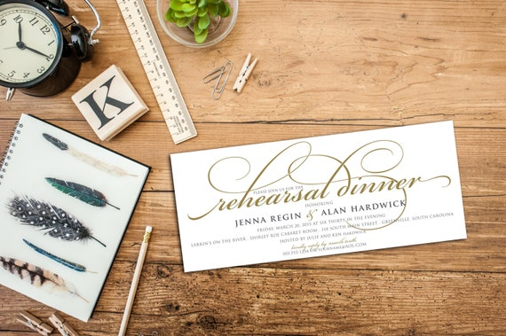 Simple Script Rehearsal Dinner Invitation with Envelopes, Customized Invitations