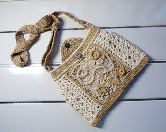 Crochet Bag Boho cross body bag Handmade Hippie Gypsy Hobo casual  Shoulder bag Bohemian Irish Lace Purse Ecru Flower natural summer handbag