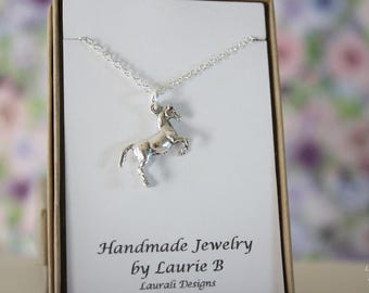 Horse Charm Necklace, Friendship Gift, Sterling Silver, Bestie Gift, Animal Charm, Horse Lover Necklace, Thank you card