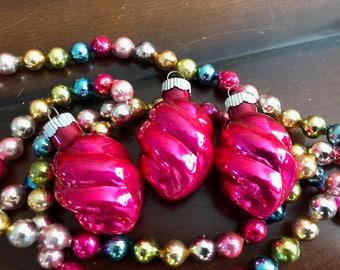 Vintage Pink Mercury Glass Christmas Ornaments  Shiny Brite Vintage Christmas Pink Perfection