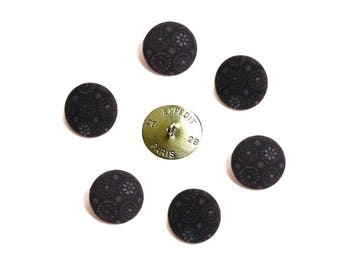 Buttons x 6 size in OPTION, fabric cotton pattern black grey flowers