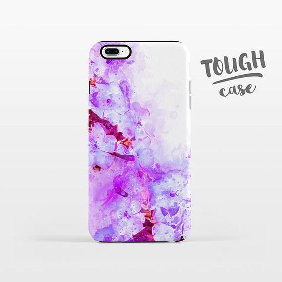 Watercolor Floral iPhone Case iPhone X Case iPhone 8 Plus Case iPhone 7 Plus Case iPhone 6 Case iPhone 6S Case 5s 5c 5 4 Purple Flower TOUGH