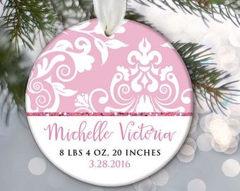 Personalized Christmas Ornament Baby Birth Stats Baby Girl Shower Gift New Baby Ornament Newborn Gift Keepsake Pink Chevron Damask OR490