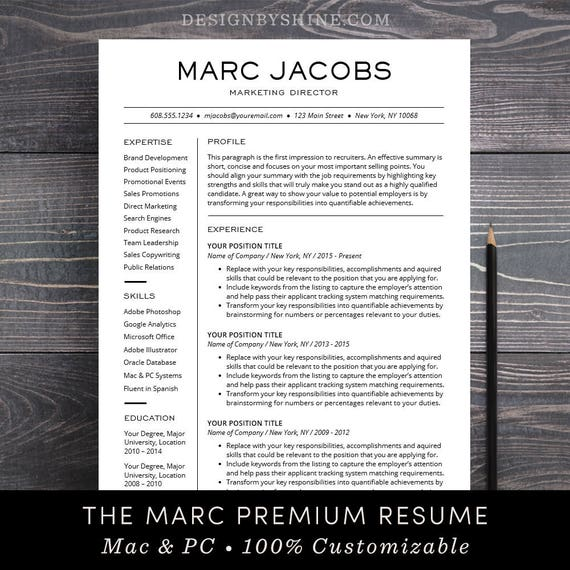 Modern Resume Template Cv Template For Pages Word