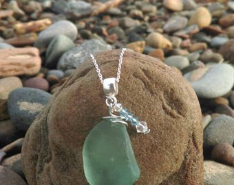 Seafoam green sea glass pendant with Swarovski Crystal charm (sterling silver chain)