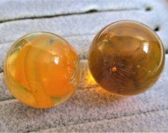 "Two Amber Marbles Vintage Shooter Marbles Collector Large Art Glass Marbles 7/8"" Topaz Orange Glass Cat's Eye Collector Children's Game"