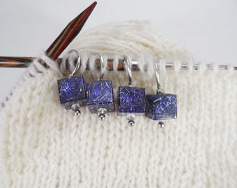 Purple and Silver Captured Fiber and Resin Stitch Markers Set of 4