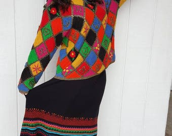 Vintage 1970 hand knit sweater plus size granny square from RCMooreVintage FREE SHIPPING